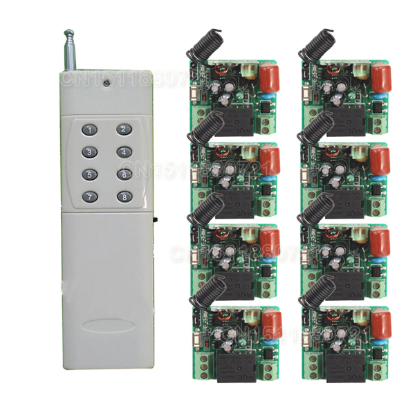 220V 1CH Radio Wireless Remote Control Switch 8 Receiver&amp; transmitter Learning Code light lamp LED ON OFF Output Adjusted<br>