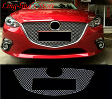 Stainless Steel Chrome Front Center Grille Around Cover Trim Racing Grills For MAZDA 3 AXELA MAZDA 6 ATENZA 2014-16 Car Styling