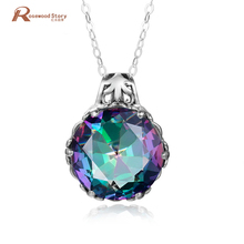 Multicolor Rainbow Fire Mystic CZ Crystal Pendant Pure 925 Sterling Silver Necklace Pendants Brand New For Women Without Chain(China)