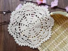 NEW DIY Cotton placemat cup coaster mug holder kitchen handmade table place mat cloth lace round Crochet doily glass coffee pad