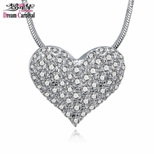 DreamCarnival 1989 Good Price Rhodium White Crystal Heart Pendant Necklace for Women Drop Ship Jewelry Moda Mulheres Collana(China)