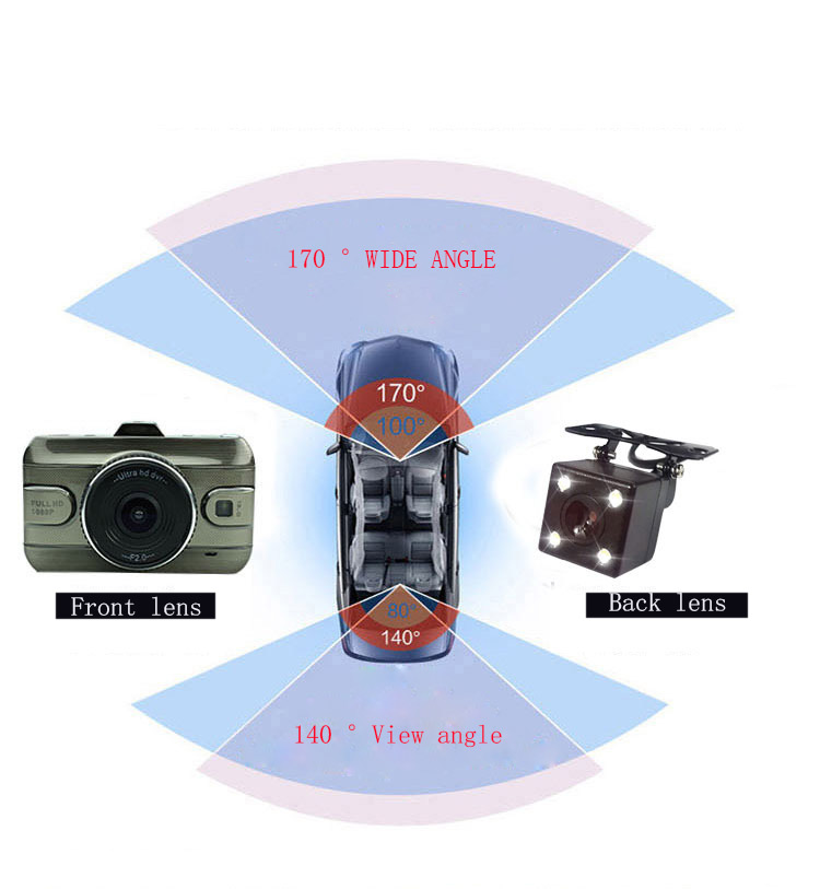 3″ Dual Lens Full HD 1080P Video Recorder Car DVR Camera Dash Cam Digital Video Recorder with Two Cameras Night Vision DashCam