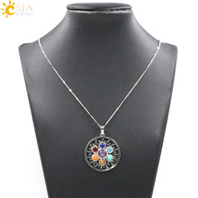Buy CSJA Natural 7 Stone Chakra Pendant Necklace Reiki Healing Charm Jewelry Yoga Jewellery Pendants Amulet Necklace E037 for $2.11 in AliExpress store