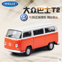 1972 Volkswagen bus T2 welly 1:36 Alloy car models pull back kids toys Orange Bus Limited Collector  Classic cars