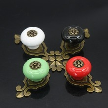 Furniture Hardware Vintage Flower Pull Handle Door Knobs Ceramic Cabinet Cupboard Wardrobe Drawer