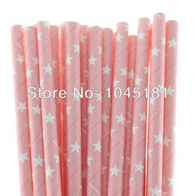 Free Shipping 1250pcs Pink Star Pattern Paper Straws Kids Party Supplies Decorative Disposable Drinking Straws