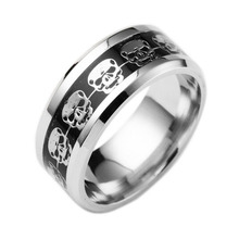 Ring for Gift Mens Jewelry Never Fade Stainless Steel Skull Ring Gold Color  Filled Blue Black Skeleton Pattern Man Biker