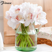 Real Touch cymbidium 6 heads Short shoot table decoration flower DIY wedding bride hand flowers home decor artificial orchid - Floace Store store