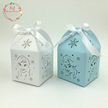 10pcs Elsa and Anna Wedding Favor Box Candy Box Party Decoration Baby Shower Gift Box kids birthday party decoration