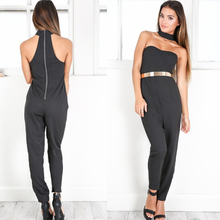2016 sexy halter bra hollow wrapped chest black one-piece sexy ladies trousers leisure trousers