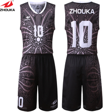 Sublimation Black Pattern Basketball Jersey Uniform Customizing Mesh Breathable Material