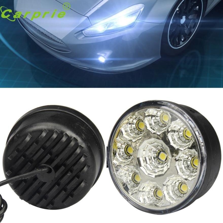 New Arrival Car-styling 4X 9-LED DRL Car Fog Lamp Round Driving Running Daytime Light Head Light White st22<br><br>Aliexpress