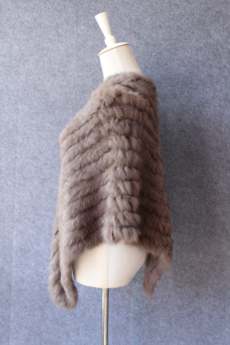 natural knitted rabbit fur scarf wraps (2)