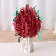 3D Pop Up Paper Flower Cut Greeting Cards Creative Handmade Peony Birthday Christmas Anniversary Festival Gifts
