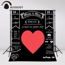 Allenjoy Custom blackboard Wedding Background Idea Chalk big heart Party Background photo booth diy photocall Excluding bracket