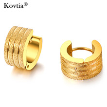 Kovtia Fashion Women And Men Stainless Steel Stud Earrings Gold Color Titanium Steel Jewelry SteamPunk Scrub Male Earrings