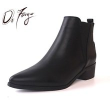 DRFARGO Women Ankle Boots Black Leather Shoes Women Pointed Toe Slip on British Fashion Chunky High Heel Boots Spring Chaussure(China)