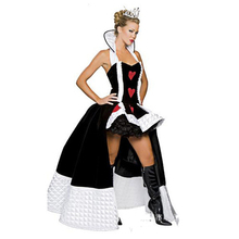 Women Girl Sexy European Court Style Palace Ballroom Queen Red Heart Dress With Crown