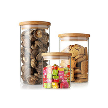 New Multiple Size Glass Sealed Storage Jar Wide Mouth Tea Foods Storage Canisters with Bamboo Cover Kitchen Accessories DA(China)