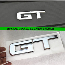 1pcs 2017 NEW 3D Auto Chrome ABS GT Tail Trunk Rear Emblem Badge Decal Sticker Car Styling For Ford Mustang 2015 2.3T to GT 5.0