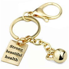Kettle Bell Key Chain Strong Beautiful Health Charm Gym Bag Key Ring Running CrossFit Jewelry Personal Trainer Gift