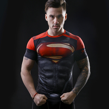 2016 marvel batman compression shirt fitness tights crossfit quick dry short sleeve t shirt Summer Men tee tops clothing(China)