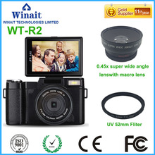 "Freeshipping 24MP 8.0MP CMOS Professional Camera Digital 3.0"" 1080P HD DSLR Camera Changeable Wide Angle Lens 800mA Li-Battery"