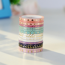 AAGU New Arrival 16 pieces 3mm*5m Skinny Foil Gold Slim Washi Tape Cute Design Stationery Adhesive Tape Washi Masking Tape(China)