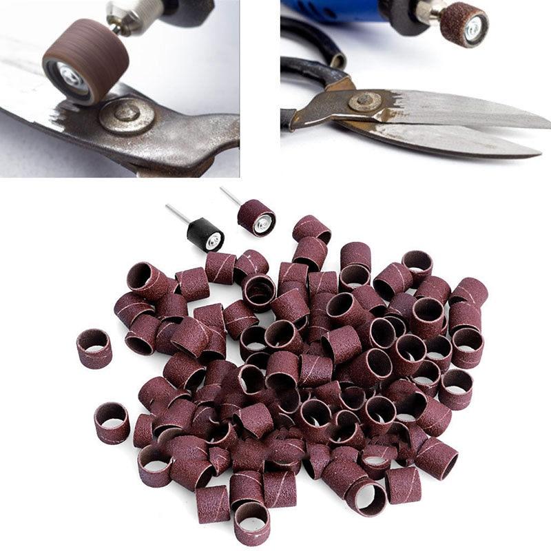 "100pcs Rotary Tools 1/2"" 80Grit Sander Paper Sanding Bands+2pcs 1/8"" Mandrel for Abrasive Tool Woodworking Metal Polishing Tools"