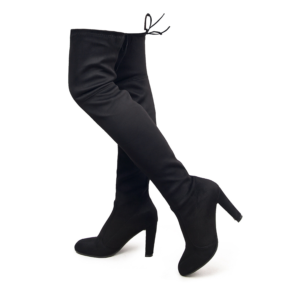SexeMara Brand 2017 New Big Size Over The Knee Boots for Women Shoes Stretch Suede Thigh High Boots Sexy High Heel Botas Mujers<br><br>Aliexpress