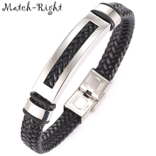Match-Right Men's Leather Bracelets Metal Bracelet Cuff for Men Stainless Steel Bracelets Rectangle Bangle Men's Wristband BR009(China)