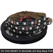 5M 12V WS2811 Addressable RGB Pixel LED Strip 5050 SMD 60LED/M IP20 Non-Waterproof Black PCB External 1 2811 ic Control 3 LEDs