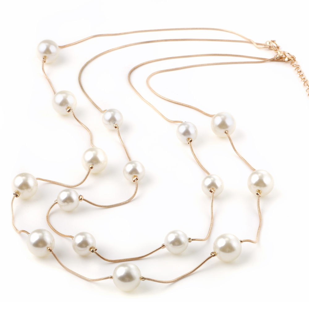 HTB1 rFiRVXXXXXVXpXXq6xXFXXXG - Simulated Pearl Jewelry Collier Fashion Long Necklaces & Pendants Big Multilayer Christmas Gifts Gold for Women Collares Bijoux