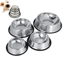 Dog Bowl Stainless Steel Standard Pet Dog Puppy Cat Water Bowl Food Container Dish 4 Size For Chien Cat Feeder