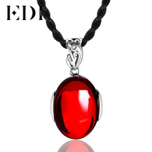 EDI Classic 925 Silver Natural Gemstone Pendants & Necklaces for Women Gift Vintage Authentic Sterling Silver Garnet Pendant(China)