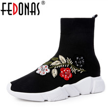 FEDONAS 1New 도착 Women Ankle Boots Autumn Winter Warm 플랫폼 츠 Round Toe 캐주얼 자 수 질 Brand Stretch Boots(China)