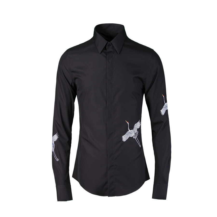 Wholesale trend embroidery long-sleeved cotton shirt men brand high quality black shirt mens casual fashion shirts male overhemd