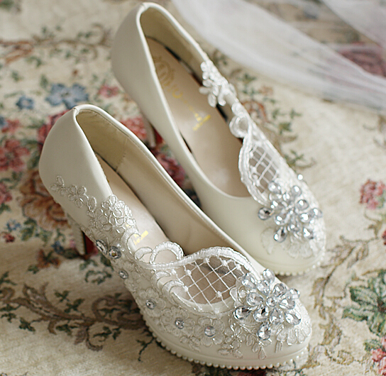 Handmade wedding shoe luxury pearl applique lace brdial shoe different heel custom made fashion party shoe in discount XNA 051<br>