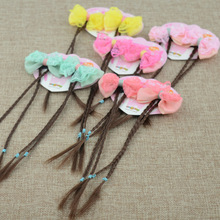 2pcs/pair New Novelty Hair Accessories Bowknot Braided Hair Clips Ponytail Wigs Hairpiece Girls Fashion Hairpins