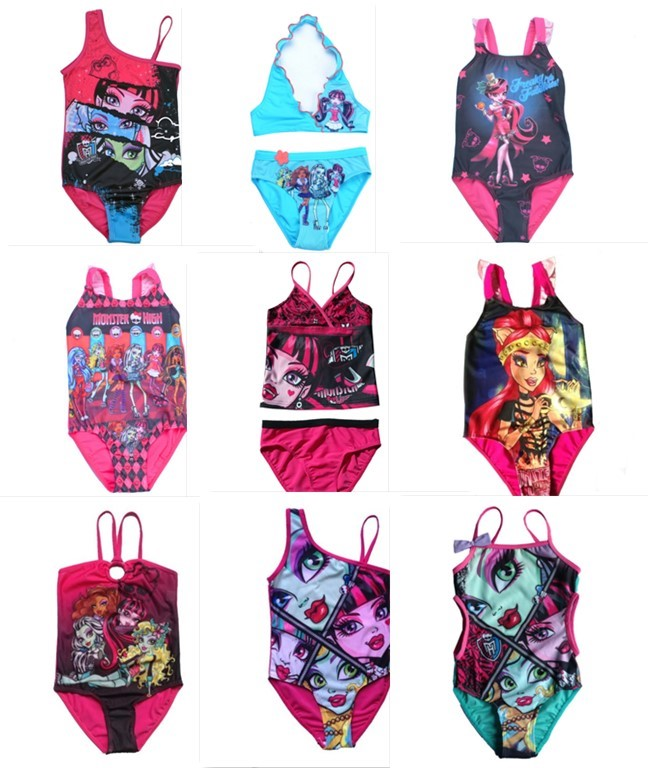 2016 Girls 1Pc&amp;2Pcs Monster.High Sleeveless Swimsuit Bathing Swimming Suit Swimwear Swimsuit Beach Surf Clothing for 3-14Y<br><br>Aliexpress