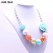 Cute design 1pcs/lot baby flower beads necklace girl bubblegum necklace kids child chunky beaded neckalce 2015 fashion(China)