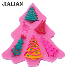 Christmas Tree shape Fondant Silicone Mold For Cake Decorating Tools Candy Polymer Clay Resin Candy Fimo Super Sculpey T-0871