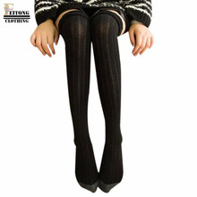 FEITONG Women Stripe Winter Knitted Over Knee Long Boot Hose Stocking Thigh-High Warm Cotton Braid Stocking(China)