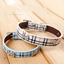 New plaid PU leather Rhinestone bones pet dog collar comfortable pet traction rope collars dog lead leash for small cats dogs
