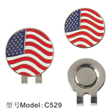 Free Shipping Brand New, Golf Ball Markers with Golf Hat Clips, American Flag Design,10pcs/lot, Wholesale Price.