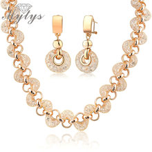 Mytys rose gold mesh net GP Shrimp shape net zircon circles necklace and earrings set for women BNIB N356(China)