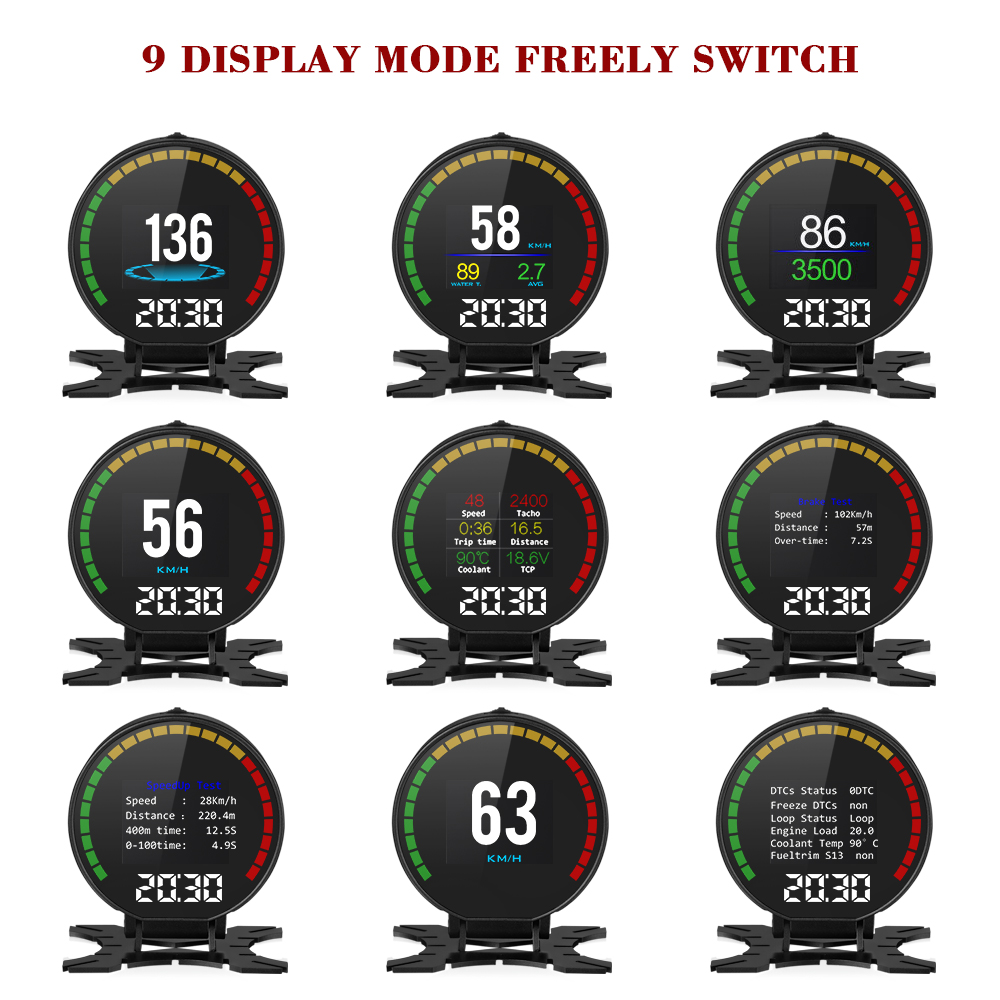 P15 Smart Car Head Up Display HUD with Windshield Digital Motor Speed Meters Projector OBD2EUOBD Interface for 99% of Vehicles_F5