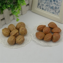 10pcs 3cm Walnut Mini Artificial Fake Fruits and Vegetables Berries Flowers Fruit Toys For Wedding Christmas Tree Cake Decoratio(China)