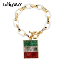 LongWay Full Crystal Square Italy Flag Charms Bracelets For Women Gold Color Chain Bangles Jewelry Sbr150387