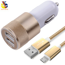 XINNIER 2 USB Output Car Charger 2.1A Fast Charge + Micro USB Cable Android Cable 1M USB Cord Wire for Samsung HTC LG(China)